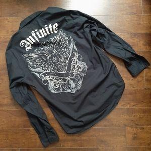 EMCEE Black Infinite Button Down Shirt Size XL